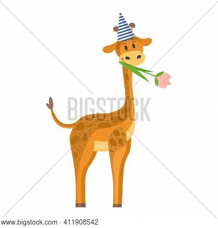 Birthday Of The Giraffe. Vector Illustration In Flat Style. A Giraffe With A Cap On Its Head And A F