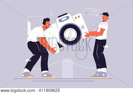 Movers Guys Carrying Camera Vector Illustration. Digital Device For Taking Photos Flat Style. Techno