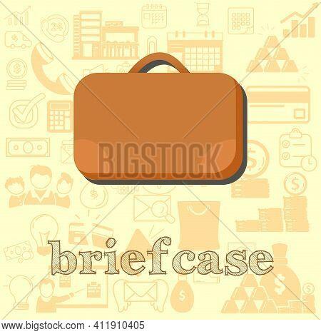 Briefcase Vector Flat Illustration, Briefcase Business Vector Illustration