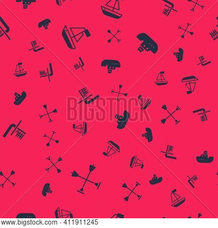 Set Arrow With Sucker Tip, Toy Boat, Basketball Backboard And On Seamless Pattern. Vector