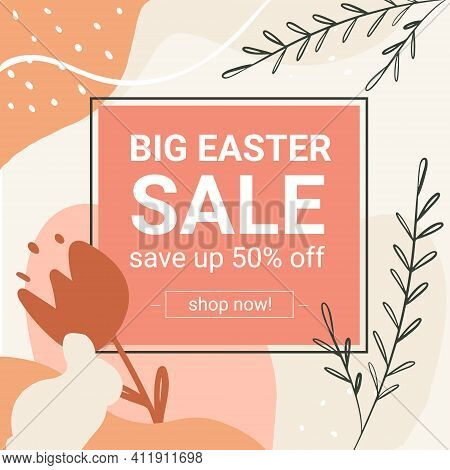 Easter Big Sale. Square Postcard For Social Networks, With An Egg. Save 50 Percent. In Boho Style. E