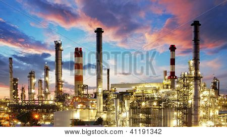 Oil and gas industry - refinery at twilight - factory - petrochemical plant poster