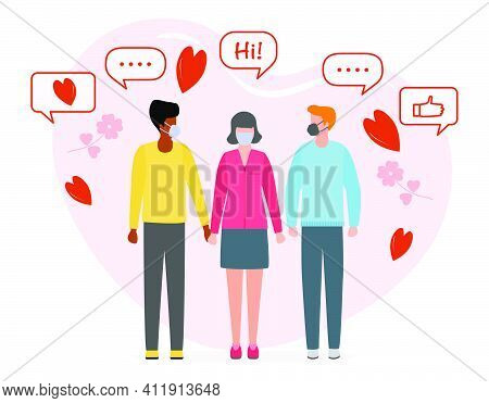 Vector Illustration Mans And Woman Holding Hands. Together. People During Romantic Relationships Cou