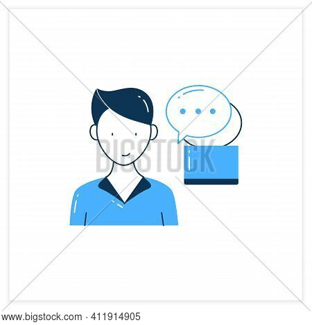 Instant Messaging Flat Icon. Momentary Messaging On Social Networks. Contactless Communication. Info