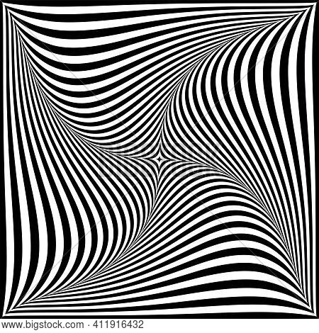 Whirl Twisting Movement Illusion In Abstract Op Art Design. Vector Illustration.
