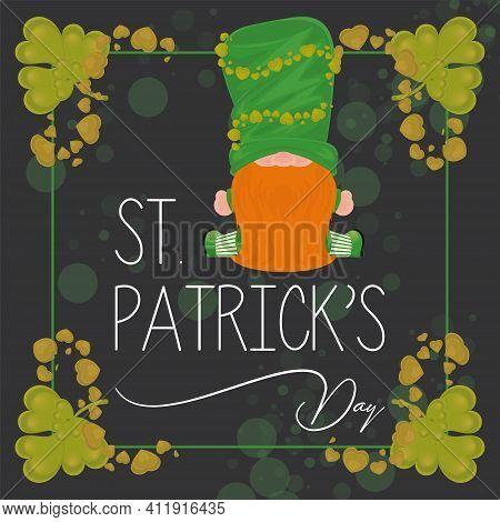Irish Elf Cartoon. Saint Patricks Day Card - Vector