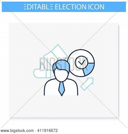 Election Winner Line Icon. Elected Candidate, Leader. Choice, Vote Concept. Democracy. Parliamentary