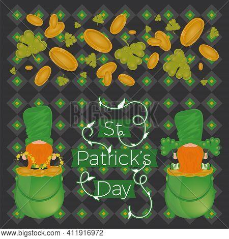 Irish Elfs Cartoon With A Gold Coins Pot. Saint Patricks Day Card - Vector
