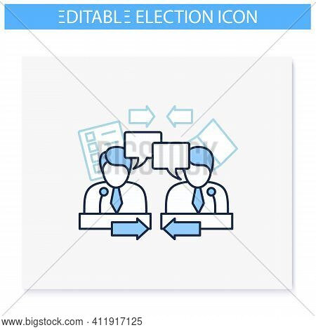Candidates Debate Line Icon. Election Campaign, Briefing. Choice, Vote Concept. Democracy. Parliamen