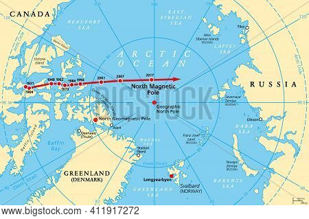 Movement Of North Magnetic Pole, Political Map. Magnetic North Pole Of Earth Moves Over Time, Accord