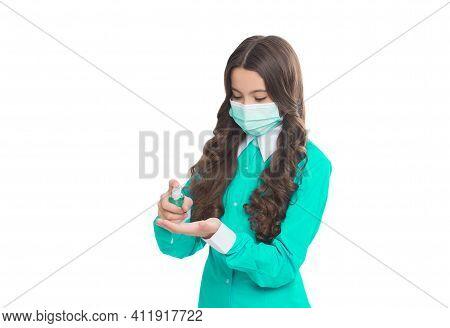Girl Doctor Epidemiologist Wearing Respirator Mask During Coronavirus Pandemic Outbreak Isolated On