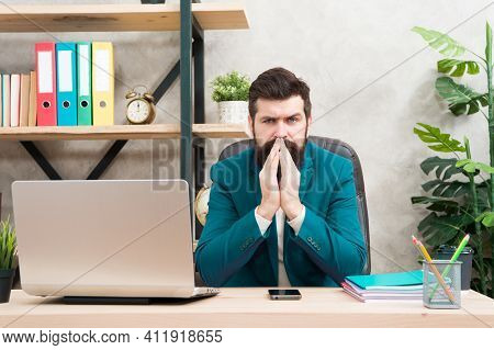 Accounting. Businessman In Formal Outfit. Confident Man Use Laptop. Boss Workplace. Need Break. Bear