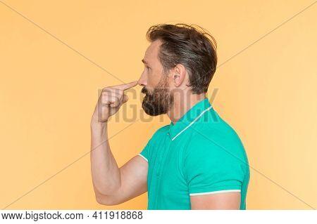 Cerebellar Function Testing. Mature Man Have Medical Examination. Patient Do Finger To Nose Test Eye