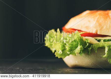 Sandwich With Ham, Cheese, Veggies And Lettuce, Fast Food Closeup