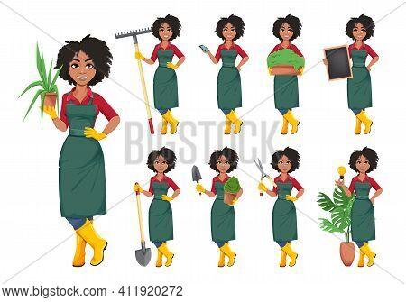 Stock Vector Young African American Gardener Woman, Set Of Nine Poses. Beautiful Lady Farmer Cartoon