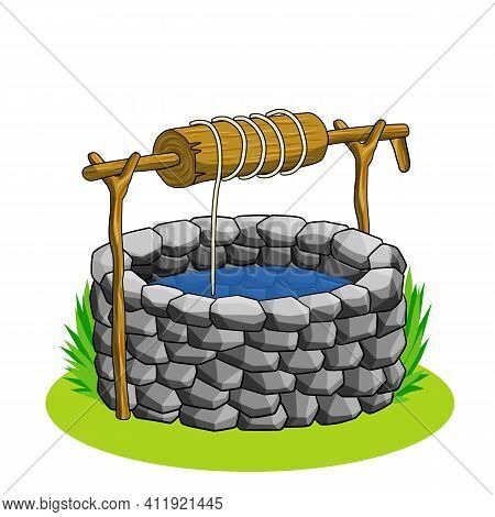 Round Stone Well For Water Extraction. Wooden Elements Of Mechanism With Rope And Lever. Element Of