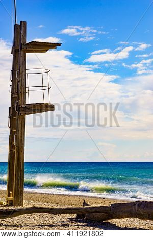 Sandy Seashore With Lifeguard Tower. Motril Beach. Costa Tropical, Granada. Andalucia Spain.