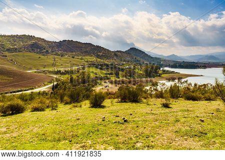 Spanish Inland Nature Landscape. Lake Embalse Del Guadalhorce, Ardales Reservoir, Malaga Andalusia,