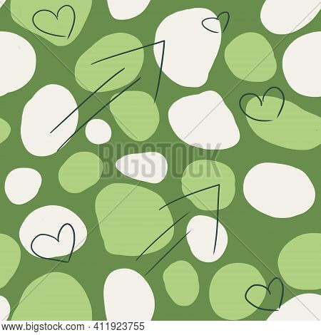 Seamless Pattern In Puzzle Style. Abstract Camouflage Of Leaves. Green, Olive And White, Gray Mosaic