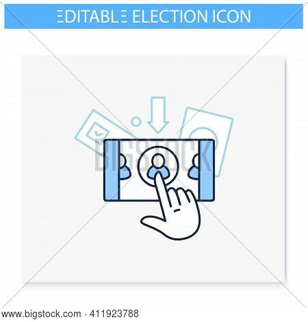 Online Voting Line Icon. Voting System, Website Or Mobile App. Remote Vote. Choice, Election Concept