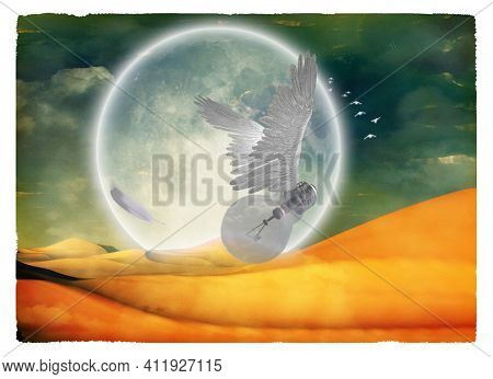 Winged idea under full moon. Conceptual image. 3D rendering