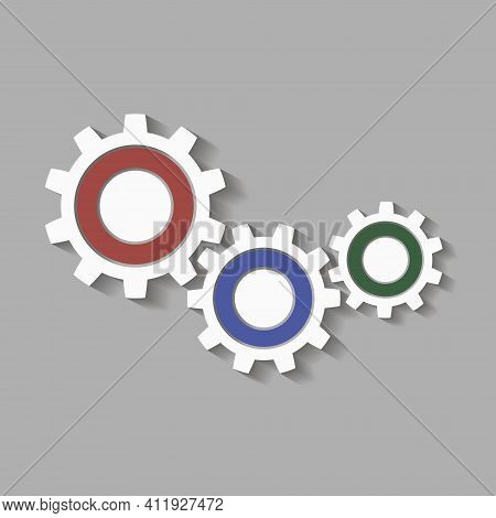 Metal Gears Set. Factory Gears Vector Icon. Mechanical Gear. The Image Of The Gear. Machine Gear. Co