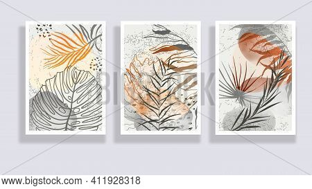 Trendy Set Of Watercolor Minimalist Abstract Illustrations. Minimal Botanical Wall Art. Mid Century