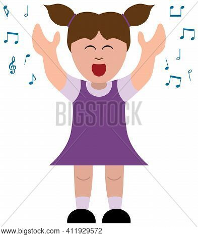 A Little Cartoon Girl In A Purple Dress Is Happily Belting Out A Tune