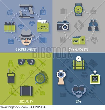 Intelligence Secret Agent Security Gadgets 4 Flat Icons Composition With Spy Sunglasses Camera Abstr