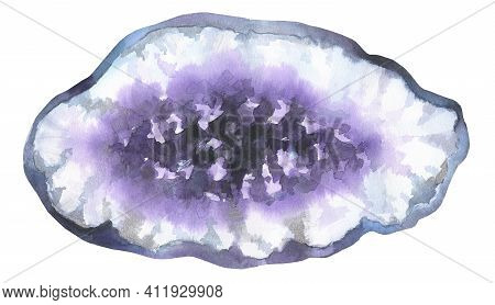 Amethyst Crystal Slice. Purple Mineral Slice. Watercolor Illustration Isolated On White Background.