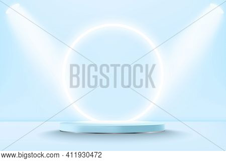 Realistic Pastel Blue 3d Display Podium Mockup With Neon Circle. Minimal Scene With Cylinder Platfor