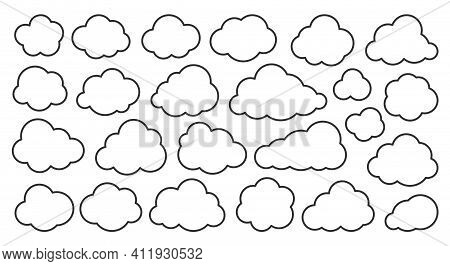 Cloud Thin Line Icons Set. Outline Vector Sign. Linear Symbol Of Weather Or Database, Network, Inter