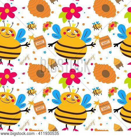 Queen Bee Vector Flat Style. Royal Bee. Seamless Patten With Flowers,honey And Bees. Vector Illustra