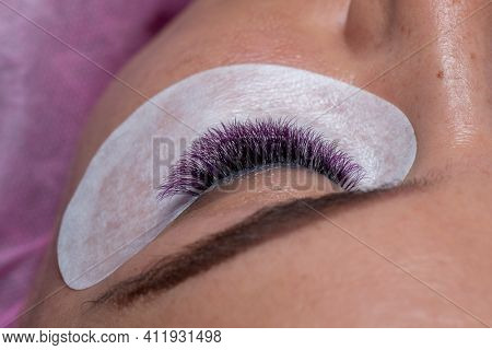 Treatment of Eyelash Extension with colorful purple lashes color. Woman Eyes with Long Eyelashes in purple color.