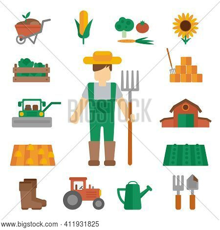 Professional Farmer Man Cartoon Character Standing In Uniform Green Dungarees With Hay Fork Poster F