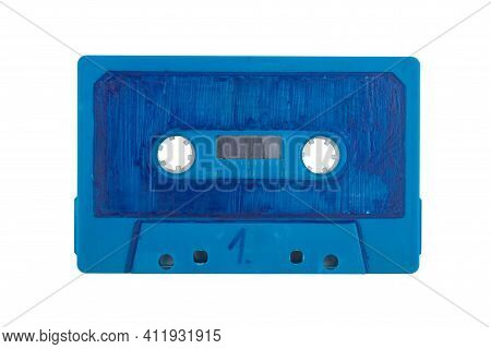 Scribbeld Blue Audio Tape Isolated Over White Background