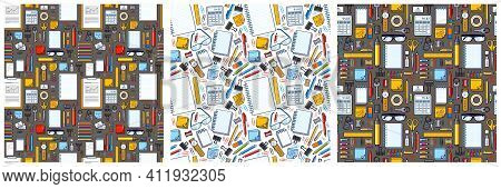 Work Office Desk Top View With A Lot Of Different Stationery Elements Seamless Vector Wallpaper Set,