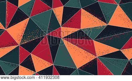 Polygonal Grunge Color Seamless Pattern, Graphic Colorful Low Poly Endless Wallpaper Background With