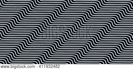 Geometric Wavy Lines Seamless Pattern Vector, 3d Dimensional Endless Background Wallpaper Design Ima
