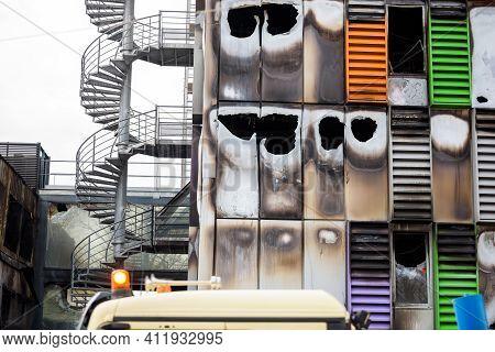Strasbourg, France - Mar 10, 2021: Close-up Details Of Burnt Remains Of The Large Data Center - Mill