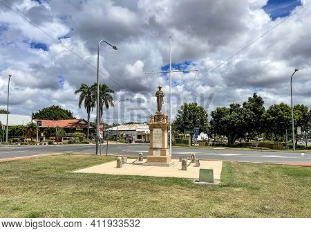 Gin Gin, Australia - February 28, 2021: View Of The War Memorial Erected In 1920 In Memory Of The So