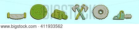 Set Of Woodcutter Cartoon Icon Design Template With Various Models. Modern Vector Illustration Isola