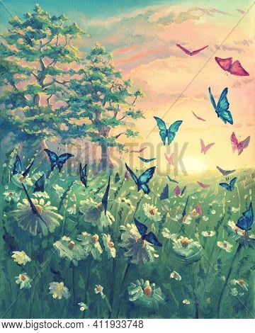 Oil Painting Sunset Landscape On Canvas With Butterflies, Beautiful Flowers, Meadow With Green Grass