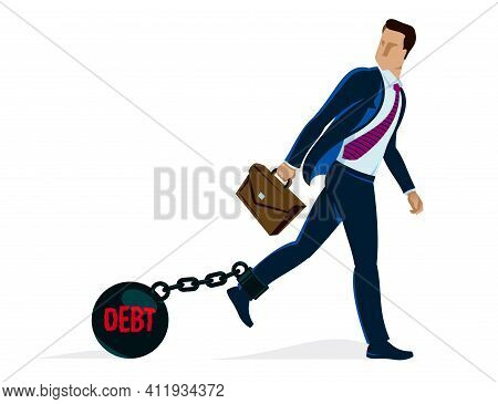 Businessman With Weight Metal Ball On Shackles Symbolizes Debt Or Problems Vector Illustration Isola
