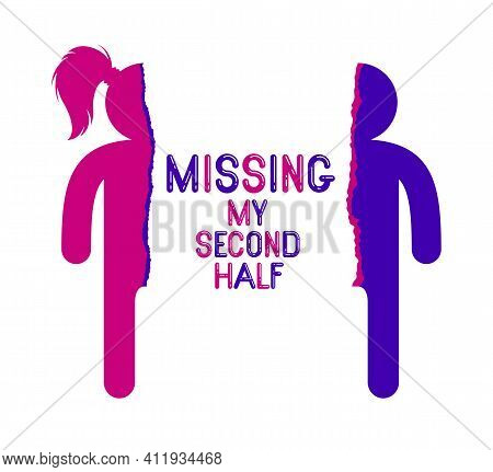 Half Of Man And Half Of Woman Icon Lonely And Missing His Mate Lover, Divorce Breakup And Loneliness