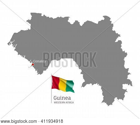 Silhouette Of Guinea Country Map. Gray Editable Map With Waving National Flag And Conakry Capital, W
