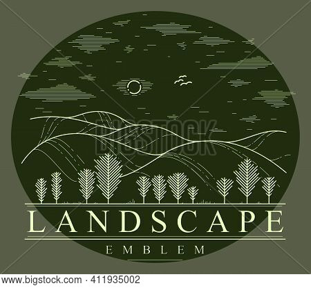 Beautiful Scenic Grasslands And Trees Vector Linear Emblem On Dark, Outdoor Hiking Camping Ant Trave