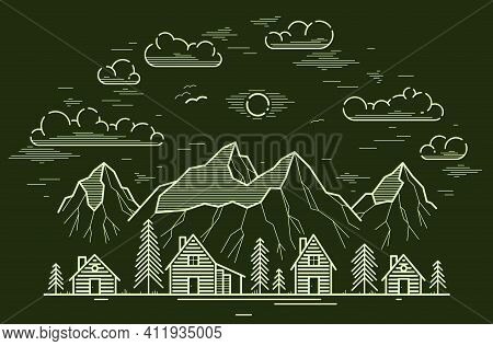 Rural Village In Mountain Range And Pine Woods Linear Vector Illustration On Dark, Wooden Houses In
