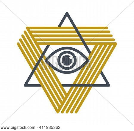 All Seeing Eye In Triangle Pyramid Vector Ancient Symbol In Modern Linear Style Isolated On White, E