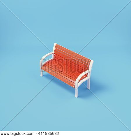 Park Bench On Bright Blue Backgrpund. 3d Render